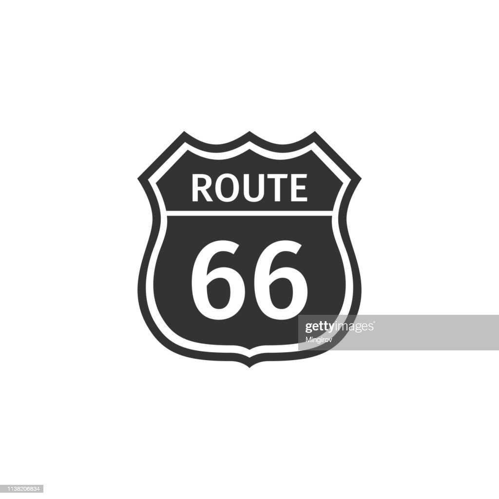 American road icon isolated. Route sixty six road sign. Flat design. Vector Illustration