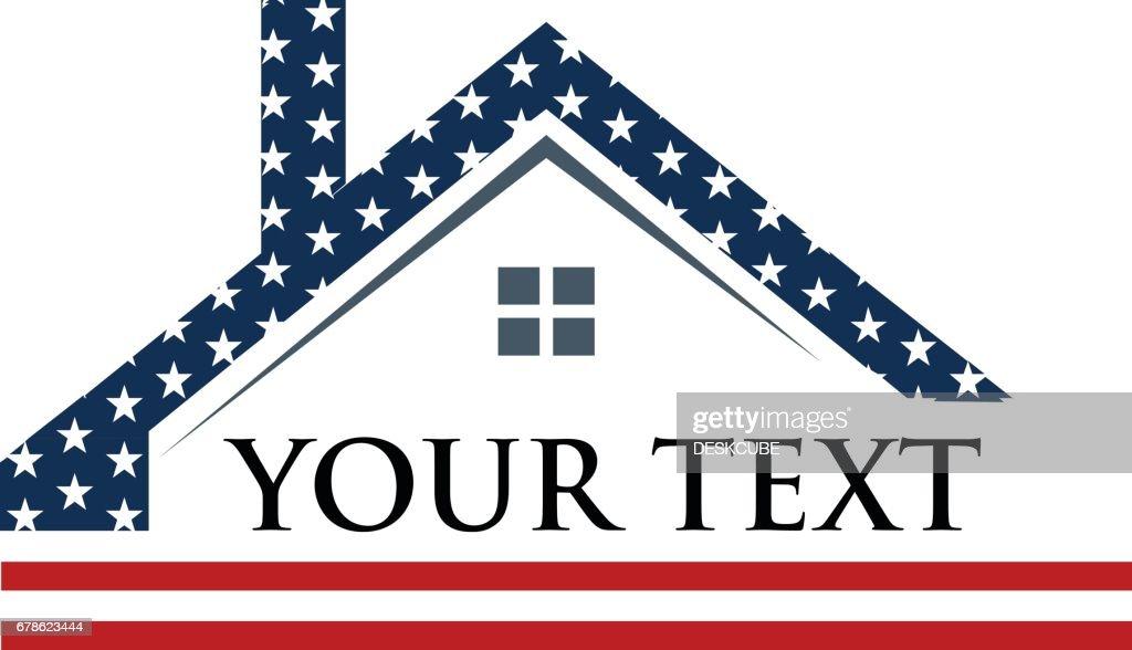 American Roof Construction Logo Illustration