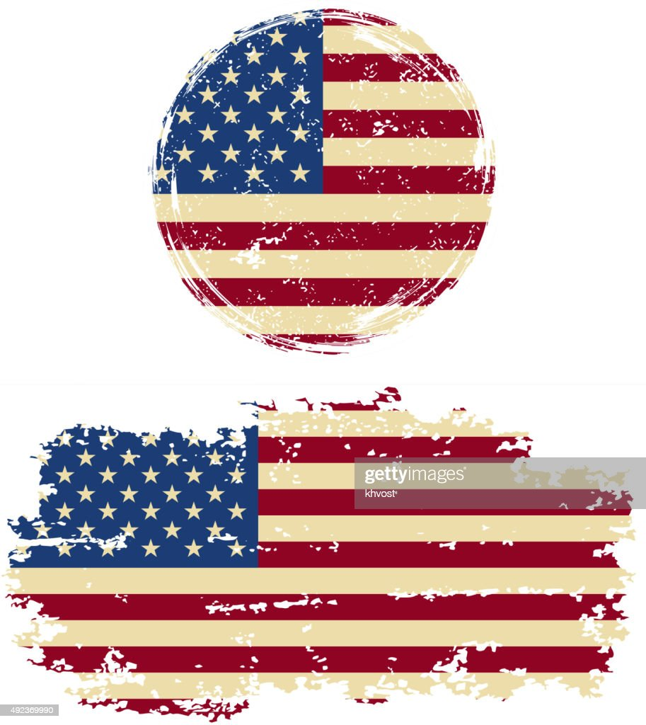 American round and square grunge flags. Vector illustration