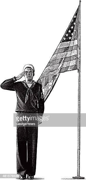 American Sailor Saluting USA Flag