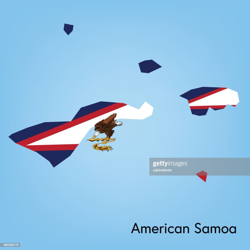 american samoa map with flag colors vector art