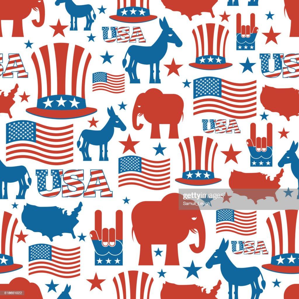 American seamless pattern. USA Election Symbols National pattern