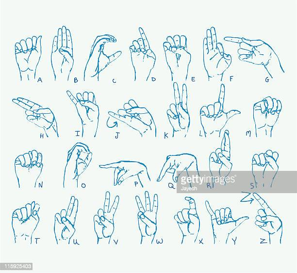 american sign language alphabet - alphabet stock illustrations