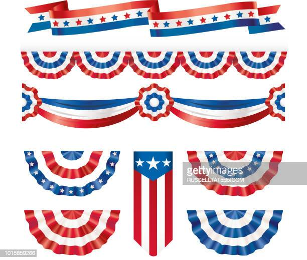 illustrazioni stock, clip art, cartoni animati e icone di tendenza di american silk flags - culture