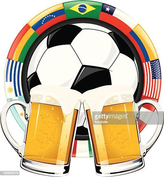 american soccer celebration - lager stock illustrations, clip art, cartoons, & icons