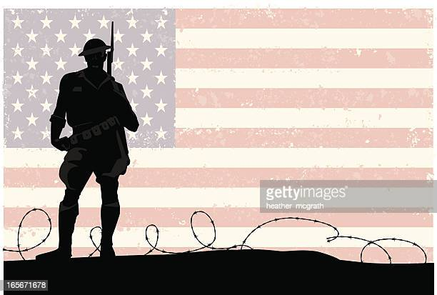 american soldier - military personnel stock illustrations, clip art, cartoons, & icons