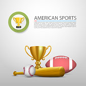 American sports, sign cover object. Vector illustration