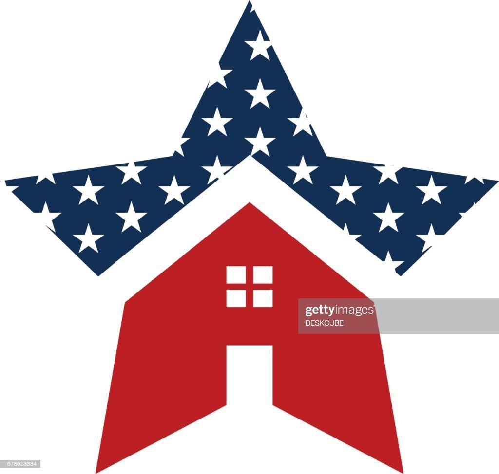 American Star House Logo Illustration