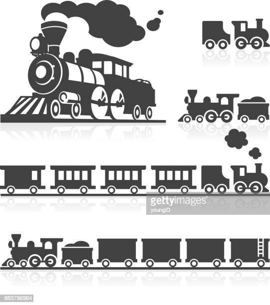 American Steam Train Icon Set