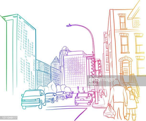 american street scene rainbow - boulevard stock illustrations