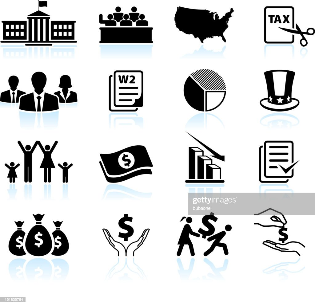 American Tax Cut Deal black & white vector icon set : Stockillustraties