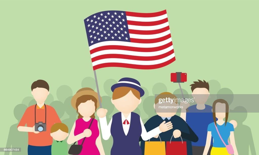 american tourists and tour guide, Inbound tourism, vector illustration