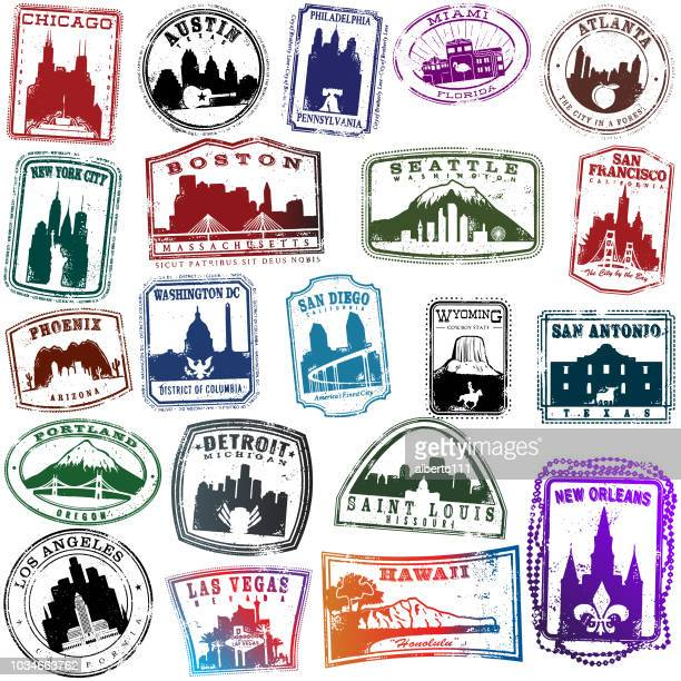 american travel briefmarken - us kultur stock-grafiken, -clipart, -cartoons und -symbole