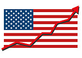 American USA flag with blue arrow graph going up showing strong economy in recovery and shares rise. Profit and success. Isolated vector