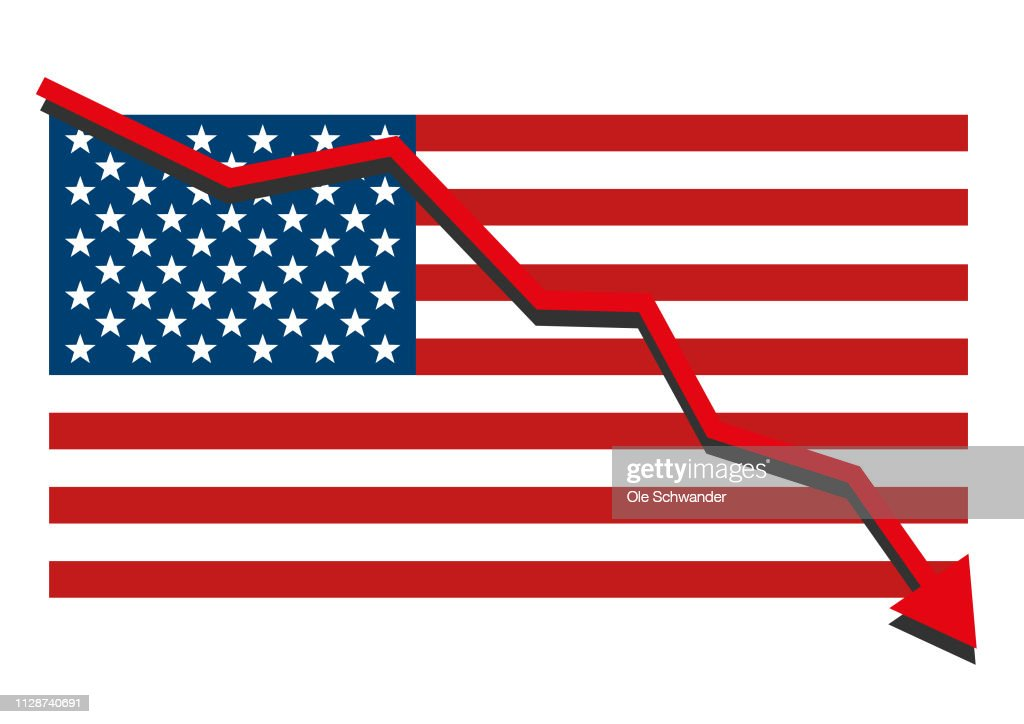 American USA flag with red arrow graph going down showing economy recession and shares fall. Isolated vector