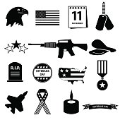american veterans day celebration icons set eps10