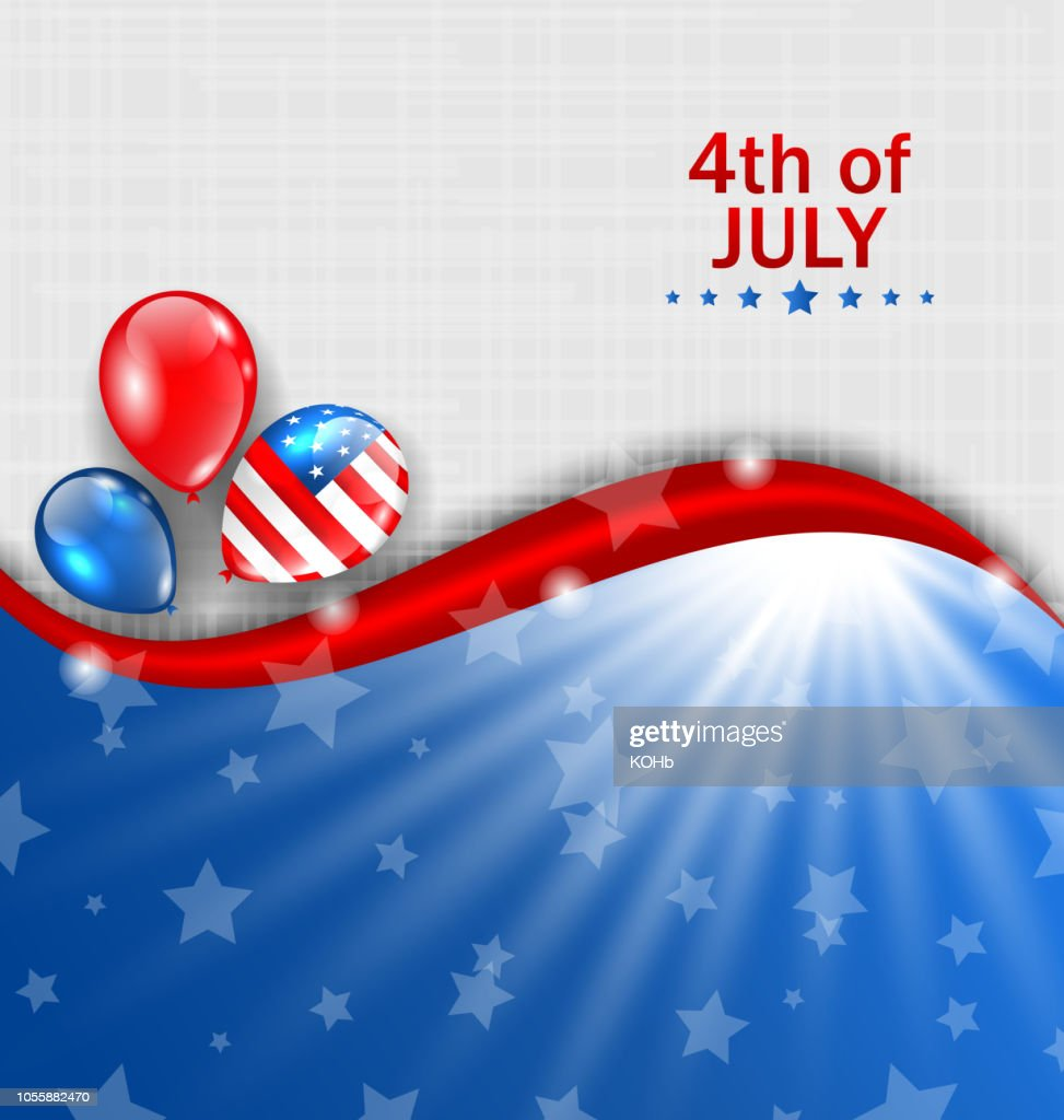 American Wallpaper for Independence Day, Traditional National Colors, Balloons