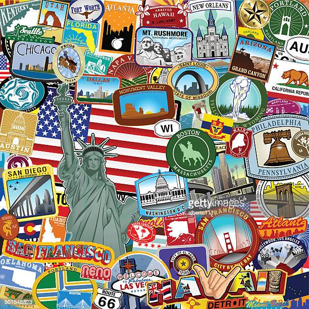 americana sticker collage - atlanta stock illustrations, clip art, cartoons, & icons