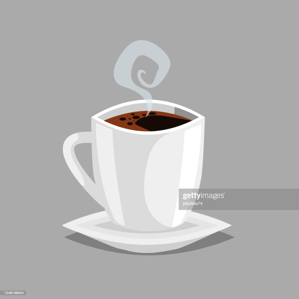 Americano espresso coffee cup with plate and steam. Cartoon trendy design style coffee vector illustration. Isolated on grey background.