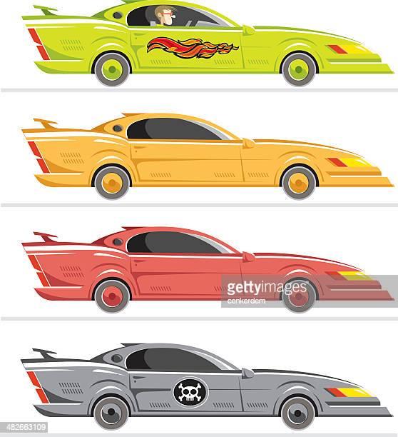 americar car set - street racing stock illustrations, clip art, cartoons, & icons
