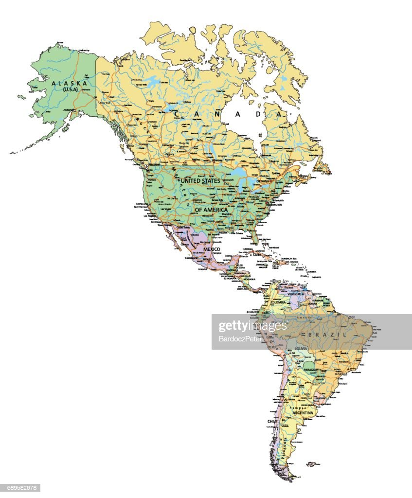 Americas - Highly detailed editable political map with labeling.