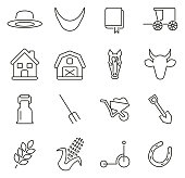 Amish Culture & Tradition Icons Thin Line Vector Illustration Set