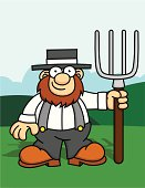 Amish Man with Pitchfork
