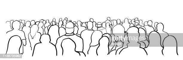 among the crowd - watching stock illustrations