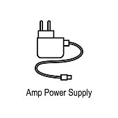 Amp power supply icon. Element of computer part for mobile concept and web apps. Thin line  icon for website design and development, app development. Premium icon