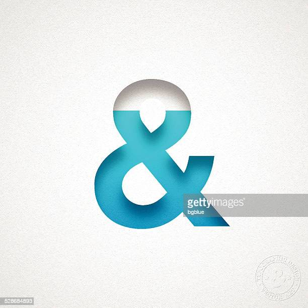Ampersand Symbol - & - Blue Symbol on Watercolor Paper