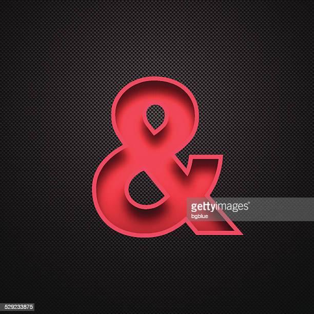 Ampersand Symbol & - Red Symbol on Carbon Fiber Background