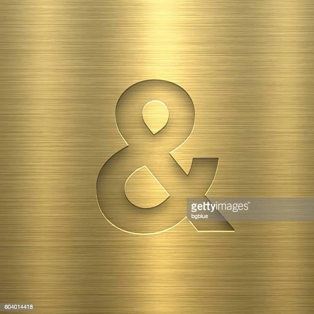 Ampersand Symbol & - Symbol on Gold Metal Texture
