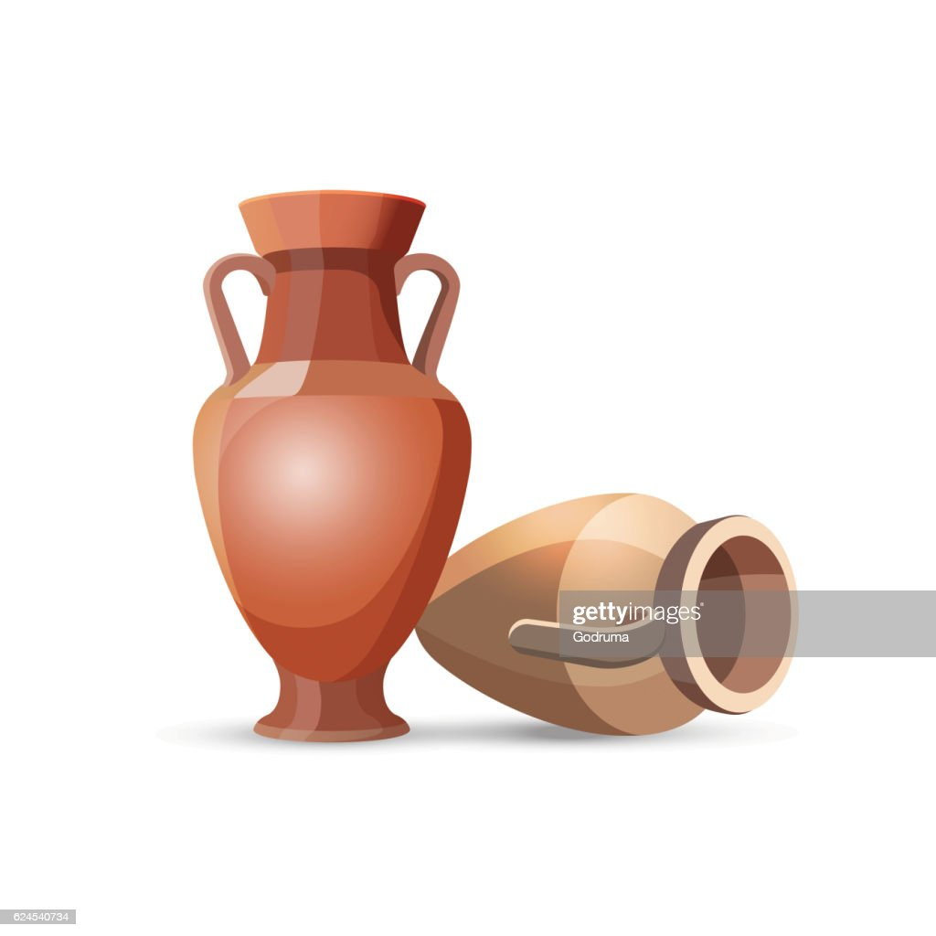 Amphora Vases Isolated. Clay Jars Egyptian Style