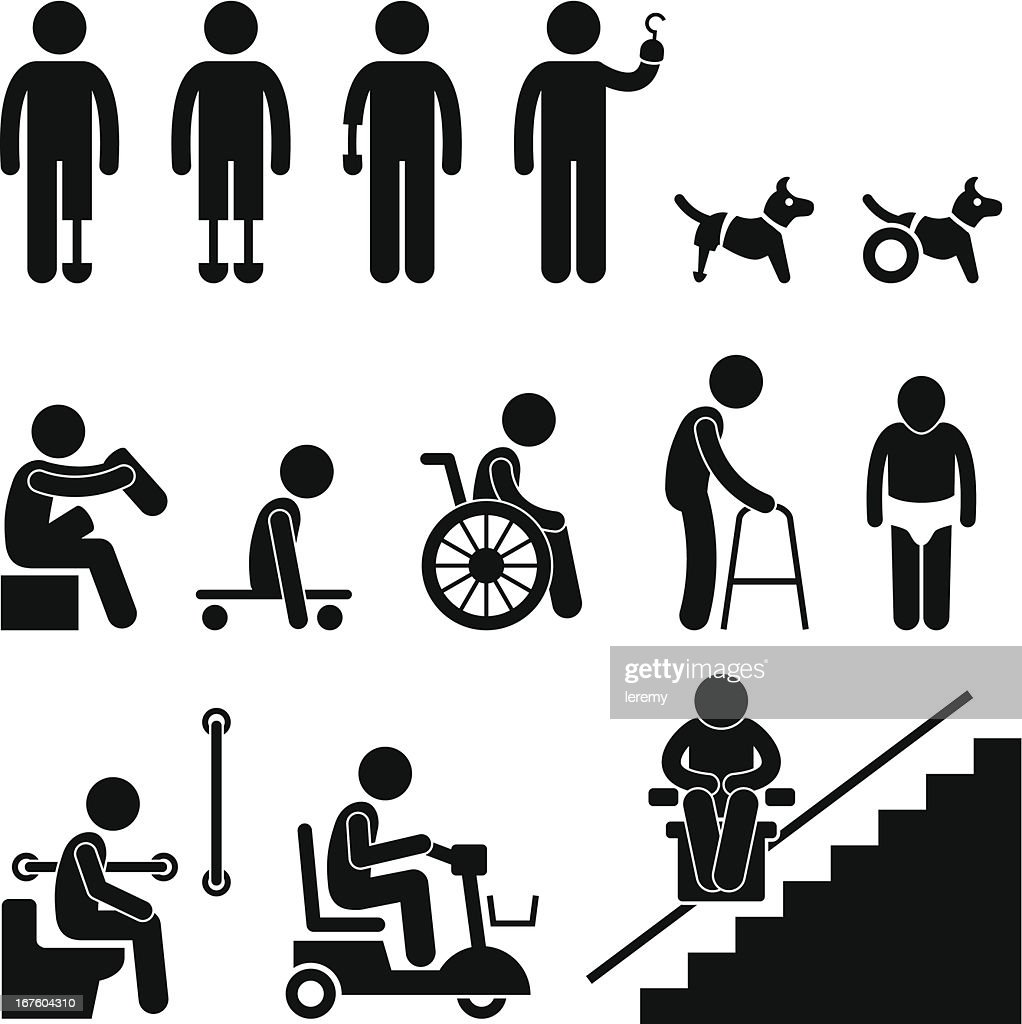 Amputee Handicap Disable People Man Pictogram