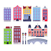Amsterdam city buildings landmark. Multicolor holland old houses. Vector cartoon illustration. Travel design elements