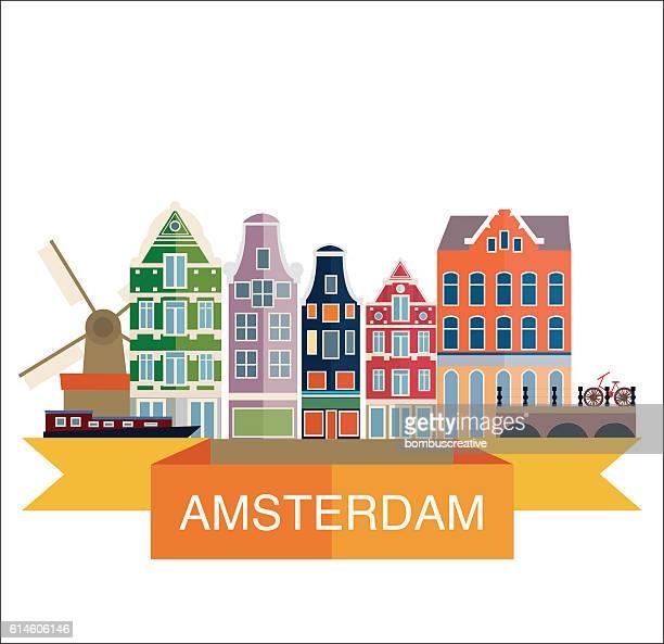 amsterdam city - amsterdam stock illustrations, clip art, cartoons, & icons