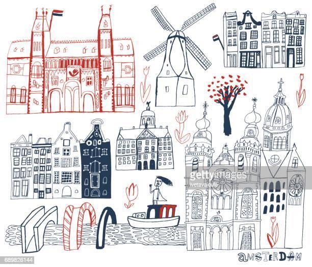 amsterdam in netherlands - amsterdam stock illustrations, clip art, cartoons, & icons