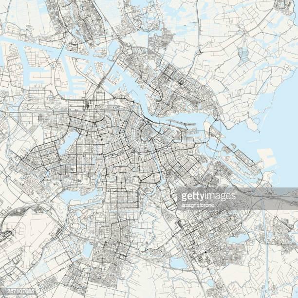 amsterdam, netherlands vector map - royal palace amsterdam stock illustrations