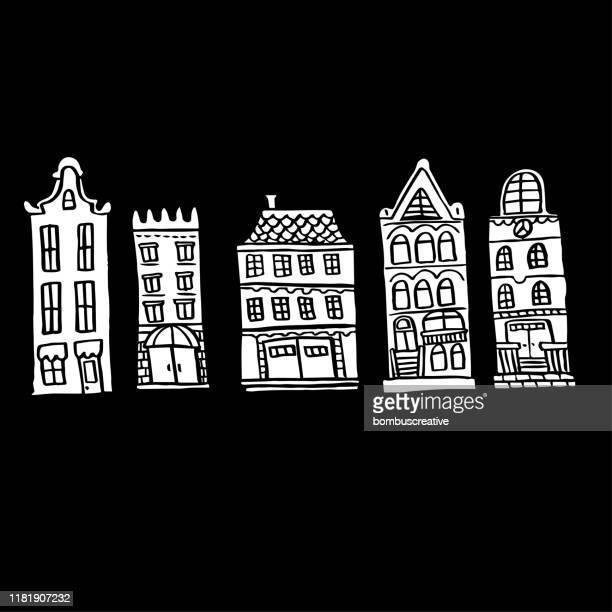 アムステルダムオールドハウスの背景 - 北ヨーロッパ点のイラスト素材/クリップアート素材/マンガ素材/アイコン素材