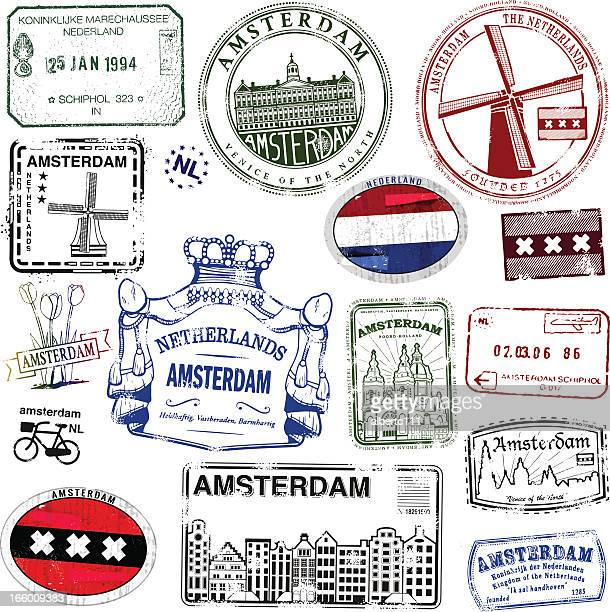 amsterdam vintage stamps - amsterdam stock illustrations, clip art, cartoons, & icons