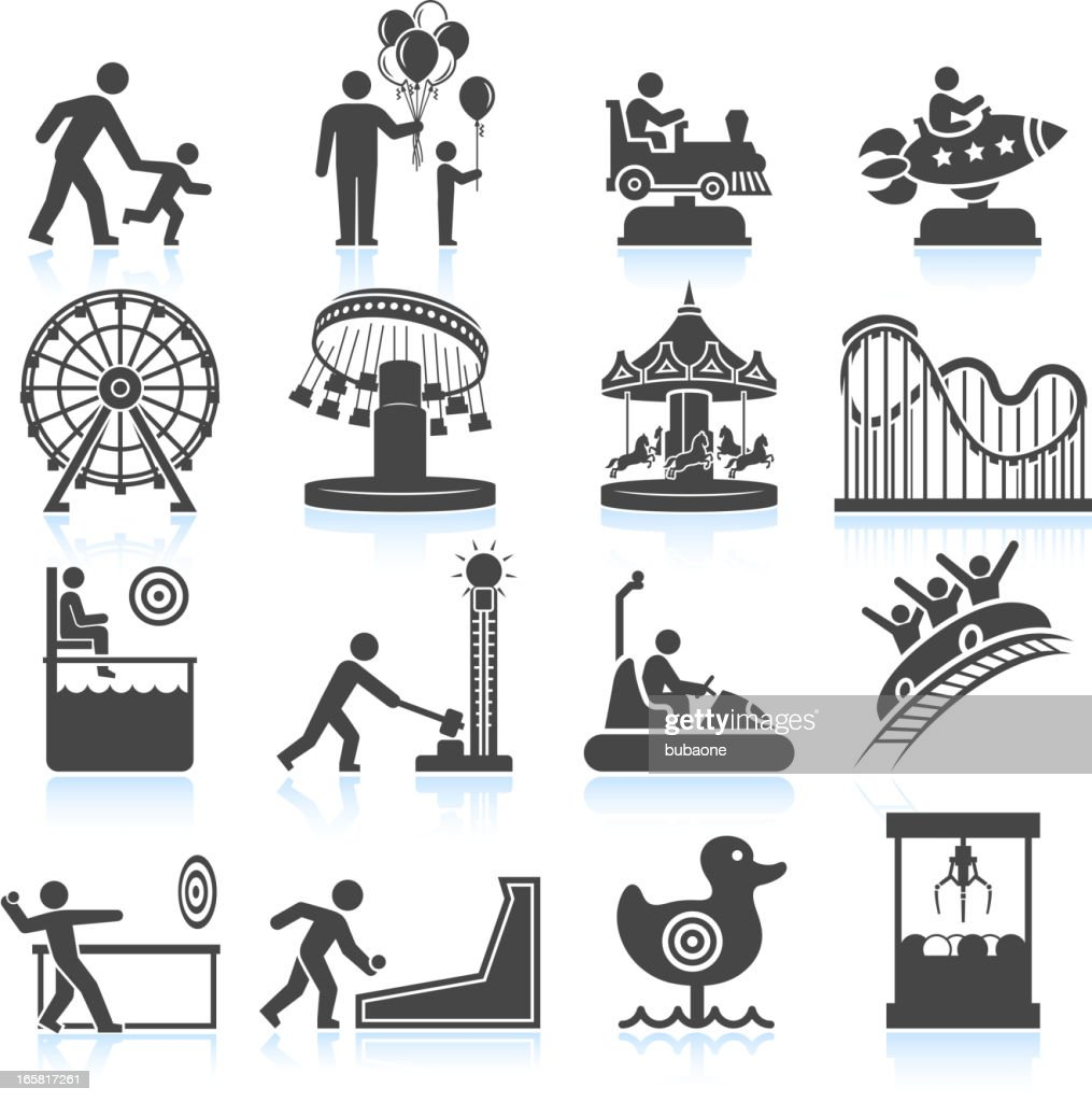 amusement park and Carnival black & white vector icon set : stock illustration