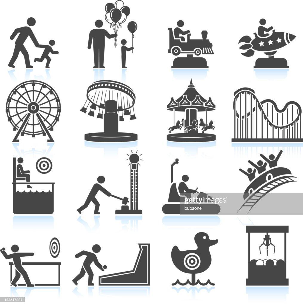 amusement park and Carnival black & white vector icon set