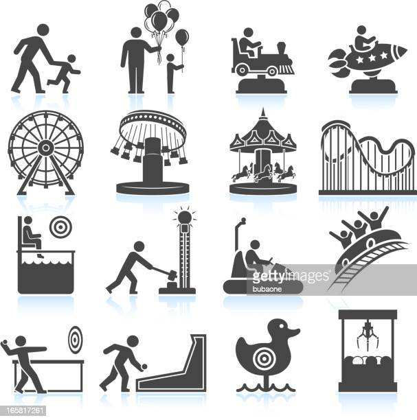 amusement park and carnival black & white vector icon set - school carnival stock illustrations, clip art, cartoons, & icons