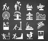 Amusement park and Carnival vector icon set on chalk board