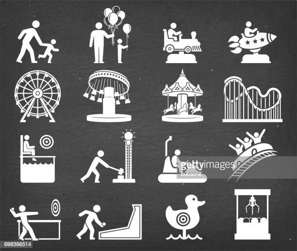 amusement park and carnival vector icon set on chalk board - school carnival stock illustrations, clip art, cartoons, & icons