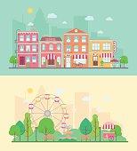 Amusement park and city landscapes
