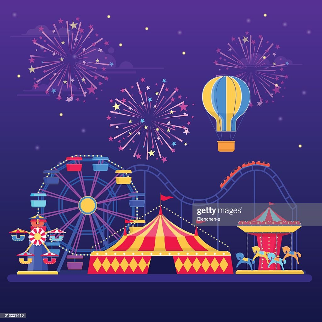 Amusement park at night with fireworks, balloon and rides : Vectorkunst