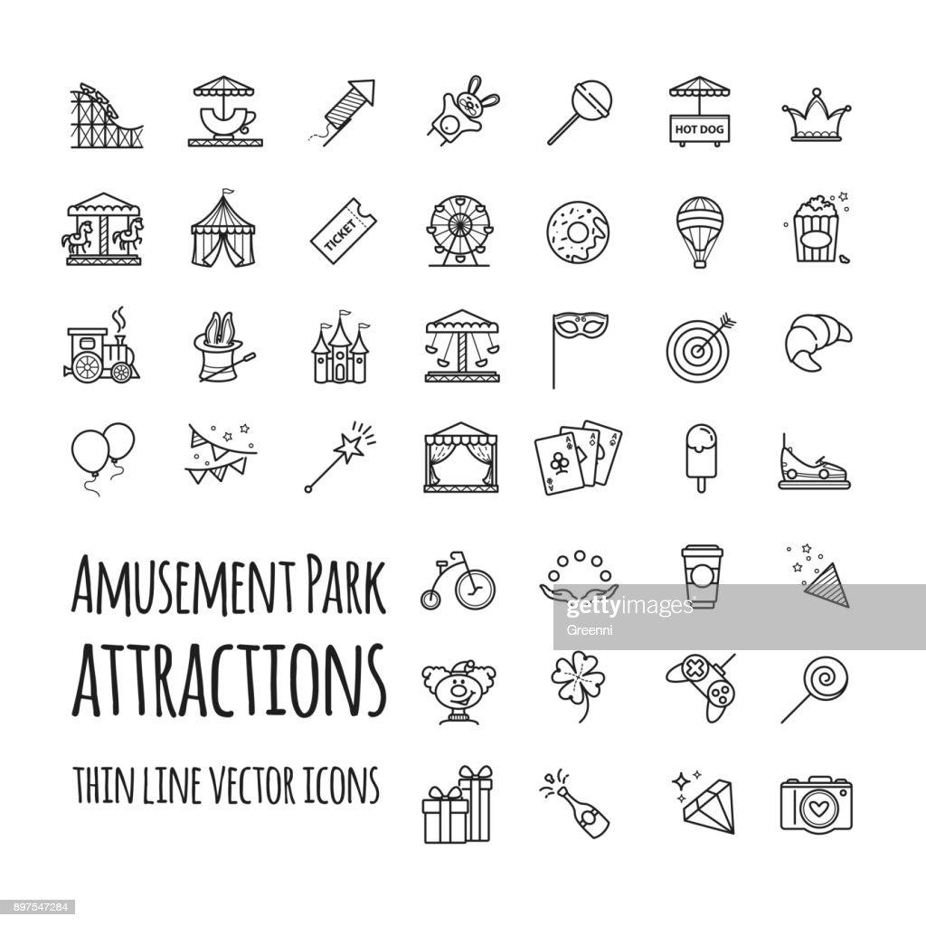 Amusement park, attraction vector icons set