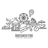 Amusement park, attraction vector icons