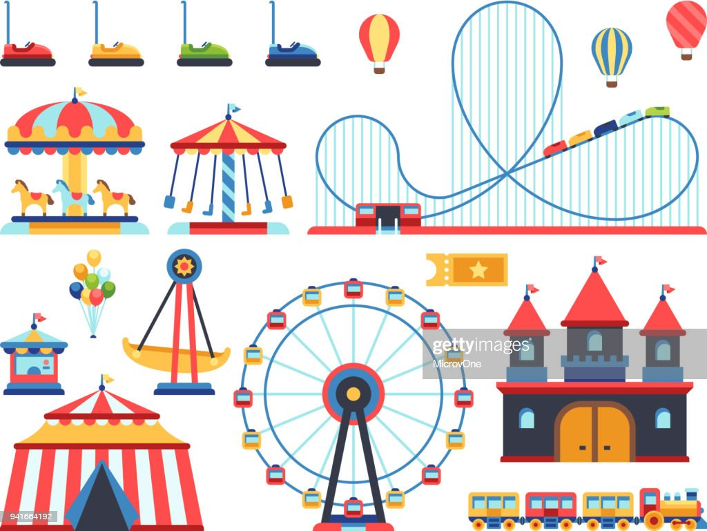Amusement park attractions. Train, ferris wheel, carousel and roller coaster flat vector icons